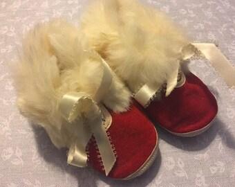Red Velveteen Baby Booties with Fur Trim 1950s