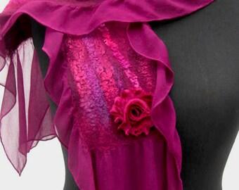 Nuno Felted Silk and Merino Scarf in Deep Burgundy Maroon