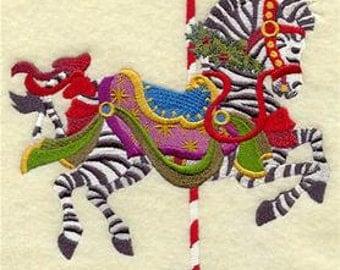 Carousel Christmas Zebra Embroidered Towel | Flour Sack Towel | | Dish Towel | Kitchen Towel | Hand Towel | Holiday Towel