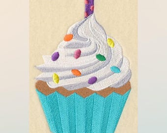 Birthday Cupcake Embroidered Towel | Flour Sack Towel | Linen Towel | Dish Towel | Kitchen Towel | Hand Towel | Baker's Towel
