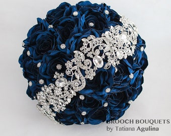 Brooch bouquet. Navy Blue and Silver wedding brooch bouquet, Jeweled Bouquet. Quinceanera keepsake bouquet