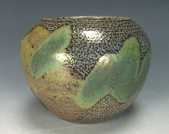 Green Golden Yellow and Spotted Brown Ceramic Vase, Modern Home Decor, Unique Clay Bud Vase, Salt Fired Vessel, Orange Peel Texture