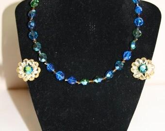 Vintage Hobe Blue Aurora Borealis Beaded Iridescent Choker Necklace and Clip Earrings