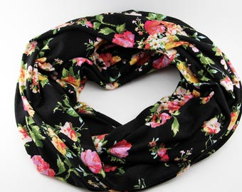 Black and Pink Floral Jersey Knit Infinity Scarf