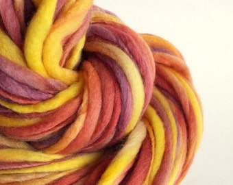 Thick and Thin yarn, Autumn soft reds, oranges, mustard yellows and purples, knitting yarn, chunky merino knitting wool, big knitting wool