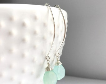 Faceted Sea Green Chalcedony Sterling Silver Dangle Earrings