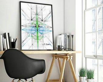 Black and blue art, abstract art, abstract art print, fractal art, fractal, gifts for him, computer geek gifts, minimalist art, geek, art