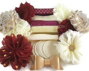 Gold, Maroon & Ivory DIY Bow Kit - Gold Dot - Rhinestone - Metallic Foe - Hair Bow Kit Shabby Flowers - 5 / 10 Headbands 25 Pieces