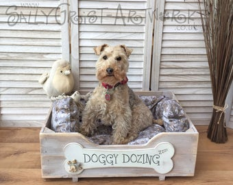 Hand-crafted wooden dog bed, MEDIUM - exclooosive to the Wet Nosed Friends range!