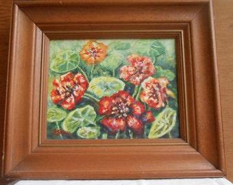 Vintage Original Oil Painting Texas Artist Flowers Floral Nasturians  Central Texas Painter Brenda Briggs Framed Art Signed by Artist