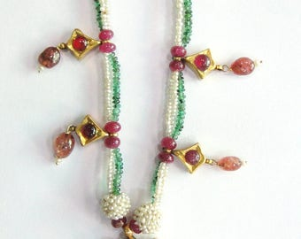 Vintage antique Solid 20K Gold jewelry Ruby Emerald Pearl Necklace Pendant