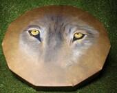 "18"" Red Deer/Stag Rawhide Drum, Shaman, Pagan, Native American Style. Wolf Eyes"