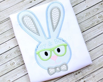 Boys Easter Bunny Shirt - Boys Easter Shirt - Bunny Shirt - Bunny With Glasses Shirt or Boysuit