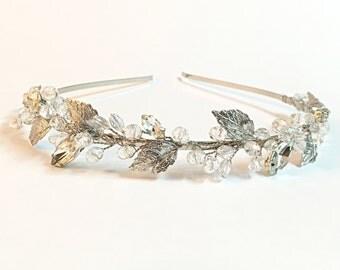 Rhinestone Wedding Headband, Bridal Headband, headpiece headband, wedding hair accessories, silver leaf wedding headband, crystal headband