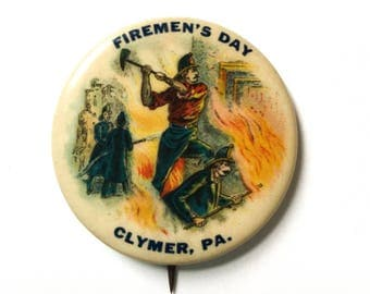 Antique Whitehead & Hoag Firemen's Day Pin Celluloid Advertising Button Firefighter Fireman Badge Clymer PA