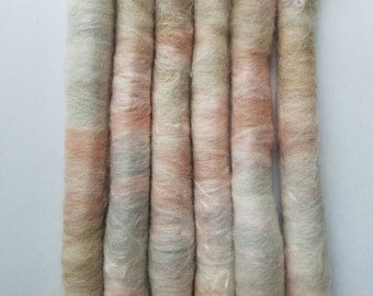 Sweet Romance: spinning punis rolags fiber weaving supplies it is a soft light grey, pale pink and light tan