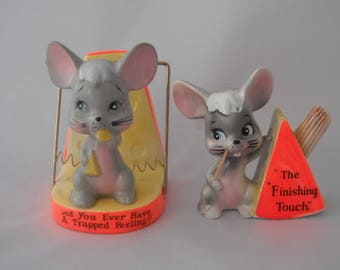 Napkin Holder and Toothpick Holder, Mouse Trap, Mouse With Cheese
