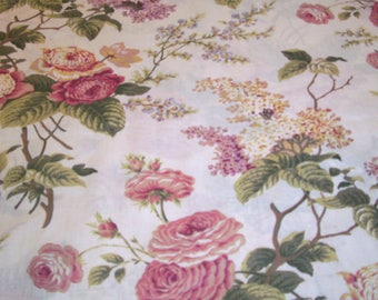 Vintage Fabric,  Vintage Material, Sewing Supplies, Off White, Olive Green, Pink, Burgundy, Floral, Home Decor, Home and Living, Crafting,
