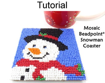 Beading Tutorial Pattern - Beaded Snowman Coaster - Christmas Holiday Mosaic Beadpoint - Simple Bead Patterns - Snowman Coaster #20316