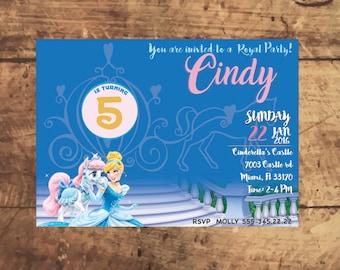 CINDERELLA BIRTHDAY INVITATION, Printable, custom made, disney princess party, Invitacion, invitation d'anniversaire, invito compleanno
