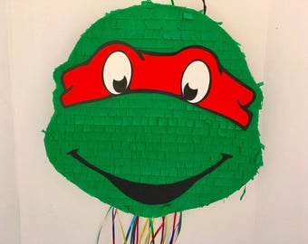 TMNT RAPH PIÑATA, Ninja Turtles Birthday Party, favor, pull string pinata Double sided (Raph & Leo)