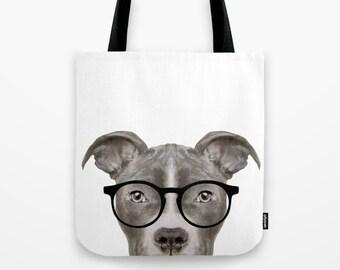 Pit bull  with glassses Tote bag dog, print on both sides, original painting print illustration print