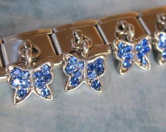 Blue  Butterfly Dangling  9mm Italian Style Nomination Bracelet Charm Stainless Steel Bracelet Making Silver Toned single charm dangler