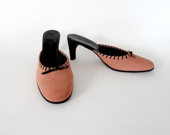 NOS Vintage Cole Haan Pink Suede and Black Leather Mules / Clogs Size 8B