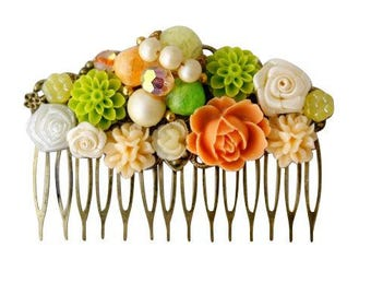 Tutti Frutti Vintage Hair Comb, Bridesmaid Hair Comb, Collage Hair Comb, Wedding Hair Comb,