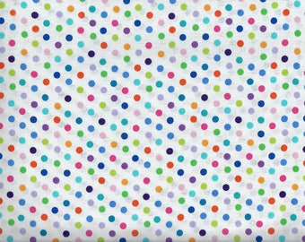Urban Elementz Dots fabric - white with rainbow polka dots - Northcott - by the continuous YARD