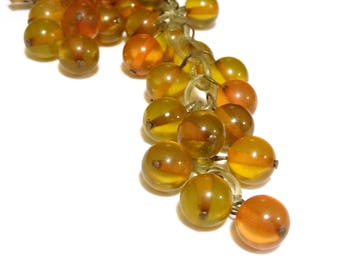 Vintage Celluloid Bead Pin Brooch Grape Cluster Unsigned MIRIAM HASKELL 1940s Jewelry Amber Color Clear Plastic Soap Bubble Beads