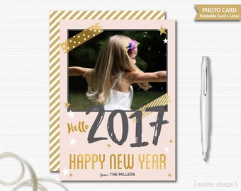 New Years Photo Card New Years Greeting Card Printable Card Digital Card Picture Card New Years Card Gold Foil Blush Pink Modern Glam Card