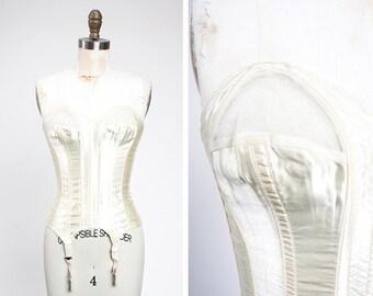 VA-VA-VOOM 1950s Lady Marlene Ivory Merry Widow Satin Bustier // Bridal // Wedding