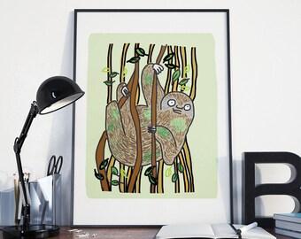 A4 Sloth Print