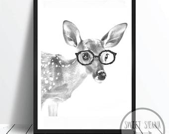 Deer Print, Animal Print, Woodland Print, animal wall print, wall art, monochrome print, wall decor, children wall art - 8x10'
