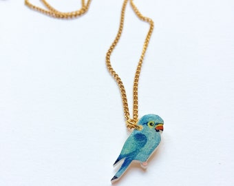 Hand drawn Parakeet Parrot Necklace. Bird Necklace. Parrot Jewellery