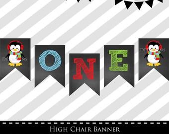 INSTANT DOWNLOAD - Winter ONEderland High Chair Banner - ONE - Banner - Penguin - Chalkboard