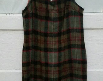 vintage dress- sixties plaid wool short sleeveless ladies dress
