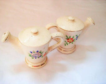 Miniature teapot salt and peppers shakers, mid century, collectible S & P, vintage salt and pepper shakers