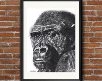 Gorilla Print, Gorilla Drawing - Gorilla Art, Prints, Gorilla Totem, Gorilla Drawing, Gorilla Portrait Art Print, Gorilla decor print