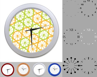 Orange Lime Wall Clock, Abstract Citrus Design, Artistic Graphic, Customizable Clock, Round Wall Clock, Your Choice Clock Face or Clock Dial