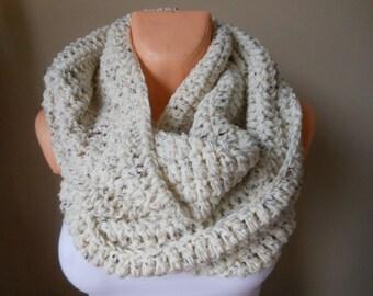 Crochet Infinity Scarf Cowl Neck Warmer Oatmeal