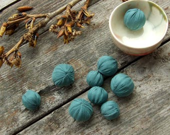 Soft fabric beads, Set 9 beads, Natural silk fabric and wool, Sea-green blue, Textile bead, Soft jewelry supply, Jewelry making, Cloth Beads