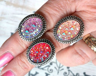 Faux Drusy Ring, Statement Ring, Adjustable Ring,Bohemian Jewelry, Gift for Her