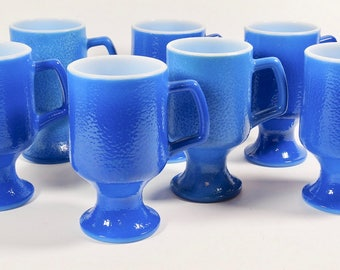 Blue Milk Glass Footed Mug Pedestal Mugs - Set of 7 - Blue Mugs Footed Mugs - Vintage Coffee Mug