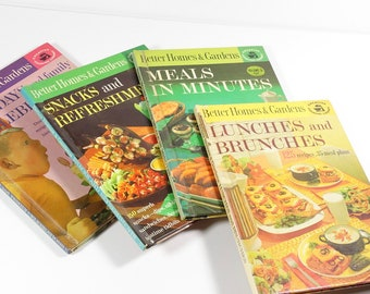 Better Homes and Gardens Cooking Library Set of 4 Books, Bruch Snacks Meals Parties 1963