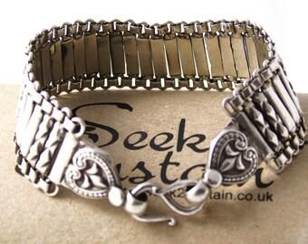 Vintage 925 Silver Bracelet, Sterling Silver Link Bracelet, Silver Bracelet, Flexible Bracelet, Wide Bracelet, Heart Bracelet, 7.5 inch
