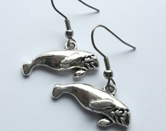 Silver Manatee Earrings with Stainless Steel Earwires - Tibetan Silver - ocean - sea life