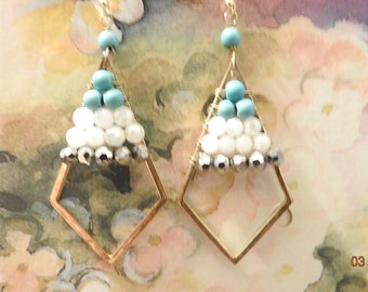 Vintage Jewelry Earrings Gold Frame with Multi Beads