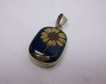 Vintage Dried Tiny Flower w Blue Background Pendant